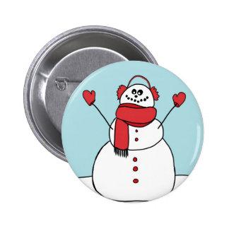 Muñeco de nieve lindo pin redondo 5 cm
