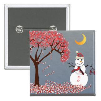 Muñeco de nieve lindo pin cuadrado