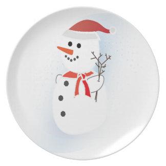 Muñeco de nieve lindo plato de cena
