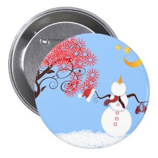 Muñeco de nieve lindo que mira para arriba el pin redondo de 3 pulgadas