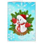 Muñeco de nieve lindo y tarjeta de Navidad cristal