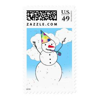 ¡Muñeco de nieve listo para un fiesta! Franqueo