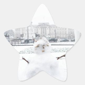 Muñeco de nieve Londres del Buckingham Palace Calcomanía Cuadrada