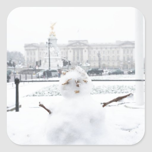 Muñeco de nieve Londres del Buckingham Palace Pegatina Cuadrada