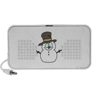 Muñeco de nieve macizo en sombrero de copa del PC altavoces