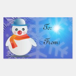 Muñeco de nieve mágico rectangular pegatina