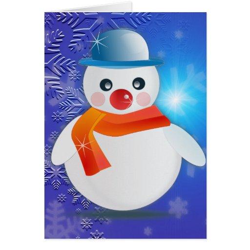 Muñeco de nieve mágico tarjeta de felicitación