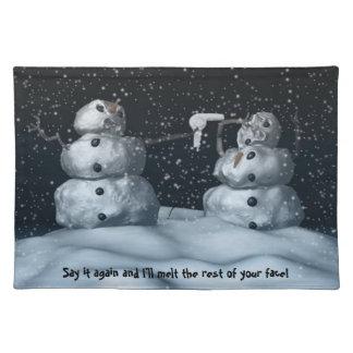 Muñeco de nieve malo manteles individuales