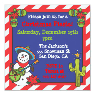 Muñeco de nieve mexicano al sudoeste Feliz Navidad Invitación Personalizada
