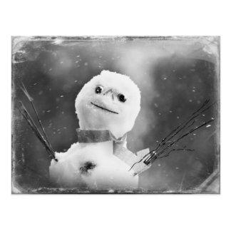 Muñeco de nieve negro y blanco alterado tarjetas postales