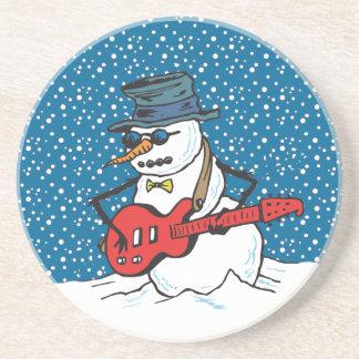 Muñeco de nieve oscilante que toca una guitarra posavaso para bebida