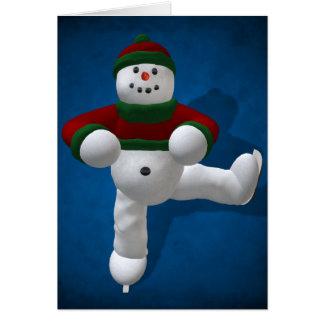 Muñeco de nieve patinador del vintage tarjeton