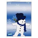 Muñeco de nieve patinador en azul tarjeta de felicitación