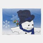 Muñeco de nieve patinador en azul toallas de mano