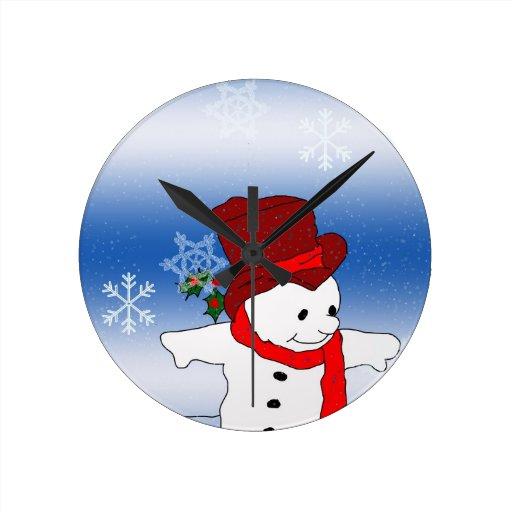 Muñeco de nieve patinador en rojo reloj de pared