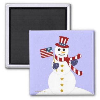 Muñeco de nieve patriótico de los E.E.U.U. con el Imán Cuadrado