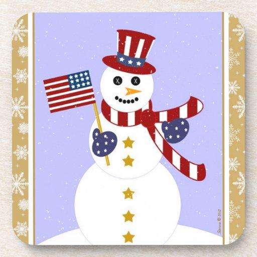 Muñeco de nieve patriótico de los E.E.U.U. con el  Posavasos