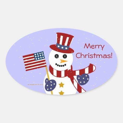 Muñeco de nieve patriótico de los E.E.U.U. con los Calcomanía De Oval Personalizadas