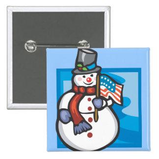 Muñeco de nieve patriótico pin cuadrado