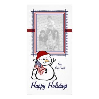 Muñeco de nieve patriótico plantilla para tarjeta de foto