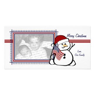 Muñeco de nieve patriótico tarjeta personal