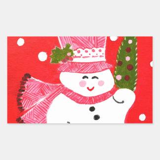 Muñeco de nieve rectangular pegatina