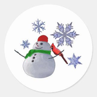 Muñeco de nieve pegatina redonda