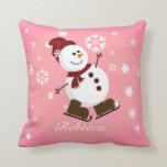 Muñeco de nieve personalizado lindo de Navidad Almohada