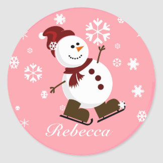 Muñeco de nieve personalizado lindo de Navidad Pegatina Redonda