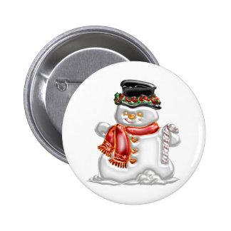 Muñeco de nieve pin redondo de 2 pulgadas
