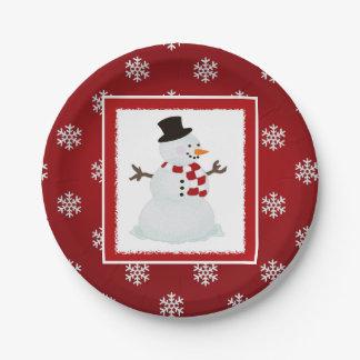 Muñeco de nieve: Placas de papel rojas Platos De Papel