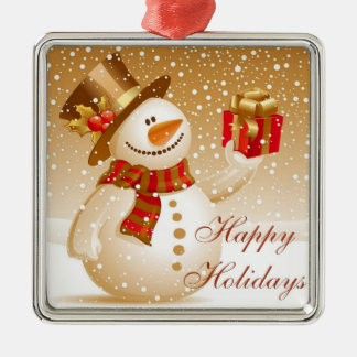 Muñeco de nieve precioso del navidad del oro adorno cuadrado plateado