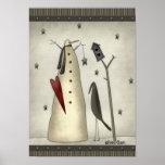 Muñeco de nieve primitivo, Birdhouse, cuervo Impresiones