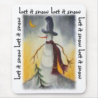 Muñeco de nieve primitivo del arte popular alfombrillas de ratones