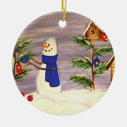 Muñeco de nieve que adorna el ornamento del árbol adorno navideño redondo de cerámica