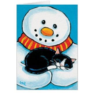 Muñeco de nieve que celebra la pintura del gato de tarjeta de felicitación