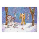 ¡Muñeco de nieve que cuelga hacia fuera - la tarje Tarjeta