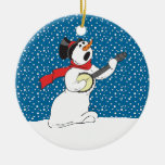 Muñeco de nieve que juega el ornamento del banjo adorno