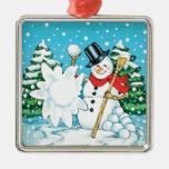 ¡Muñeco de nieve que lanza una diversión Splat del Ornamento De Reyes Magos