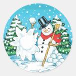 ¡Muñeco de nieve que lanza una diversión Splat del Pegatina Redonda