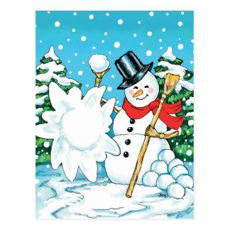 ¡Muñeco de nieve que lanza una diversión Splat del Tarjetas Postales