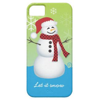 Muñeco de nieve que lleva el gorra de Santa iPhone 5 Carcasas