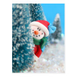 Muñeco de nieve que oculta o que mira a escondidas postal