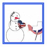 Muñeco de nieve que saluda con el corazón de la ba escultura fotográfica