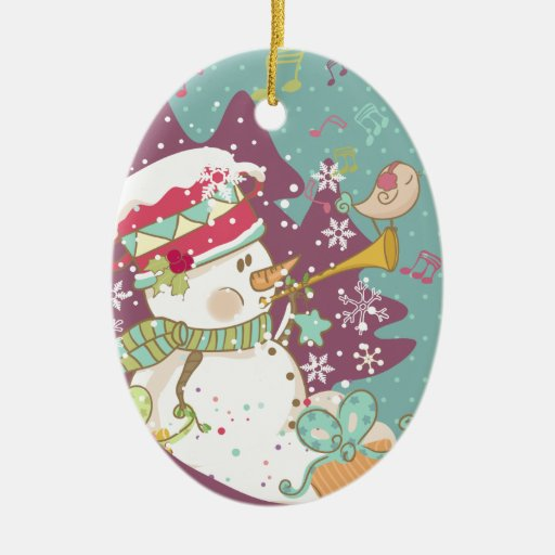 Muñeco de nieve que toca la trompeta adorno navideño ovalado de cerámica
