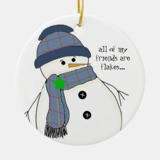 Muñeco de nieve rechoncho con decir adorno redondo de cerámica