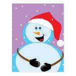 Muñeco de nieve redondo postal