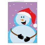 Muñeco de nieve redondo tarjeta