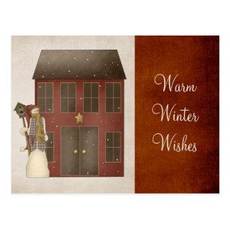 Muñeco de nieve remilgado del país y diseño de la tarjetas postales
