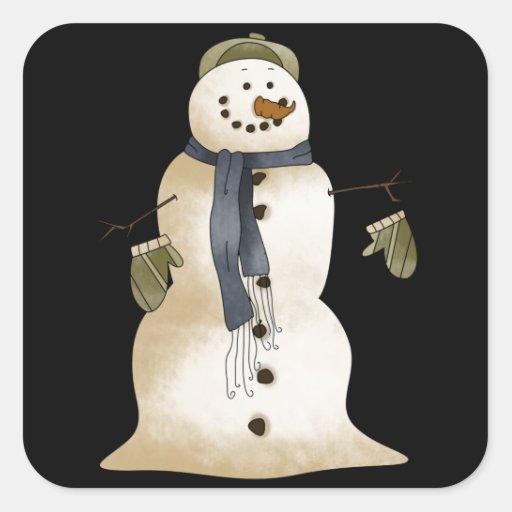 Muñeco de nieve retro del invierno del arte calcomania cuadradas personalizadas